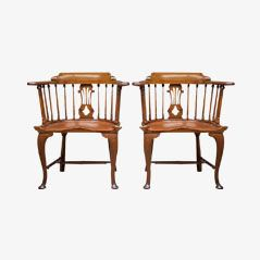Antique Lyre Back Arm Chairs, 1830, Set of 2