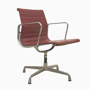 Cherry Red EA108 Aluminum Office Chair by Charles & Ray Eames for Vitra, 1980s