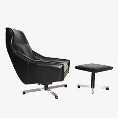 Mid Century Italian Swivel Chair & Ottoman, 1950s