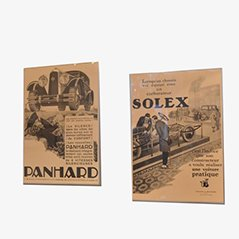 Mid Century Solex & Panhard Automotive Advertising Posters, Set of 2