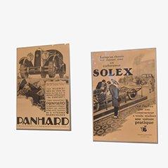Poster pubblicitari Mid-Century Solex & Panhard Automotive, set di 2
