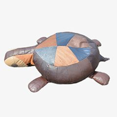 Pouf The Turtle in pelle patchwork
