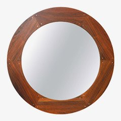 Circular Rosewood Mirror by Uno & Östen Kristiansson for Luxus