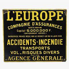 Panneau L'Europe Assurance Vintage Emaillé, France