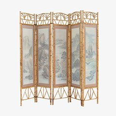 Handpainted Japanese Room Divider, 1980s