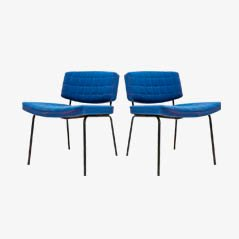 Royal Blue Chairs by Pierre Guariche for Meurop, 1950s, Set of 2