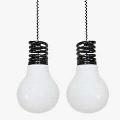 Glass XXL Lightbulb Pendants by S.T.L. Studio for Lamperti, Set of 2