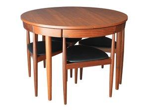 Ausziehbarer Esstisch mit Sech Stühlen von Hans Olsen für Frem Rojle