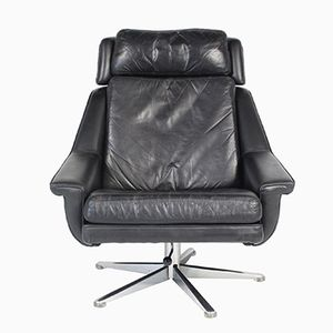 Danish Leather Lounge Chair by Werner Langenfeld for ESA, 1970s