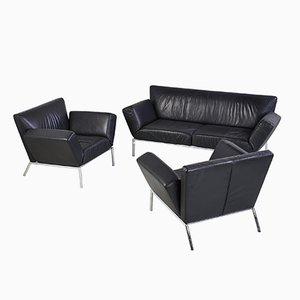 Schwarzes Leder Sofa Set Von COR