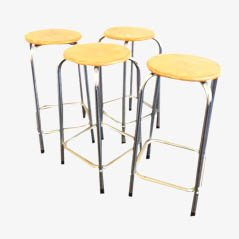 Industrial Plywood & Chrome Atelier Stools, Set of 4