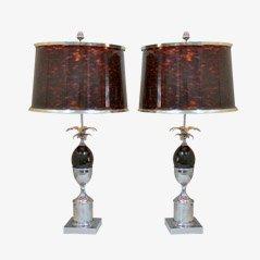 Vintage Steel Desk Lamps by Maison Charles, Set of 2