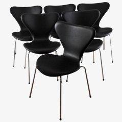 3107 Syveren Elegance Wax Dining Chairs in Black by Arne Jacobsen for Fritz Hansen, Set of 6