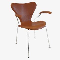 3207 Syveren Elegance Wax Dining Chair in Brown by Arne Jacobsen for Fritz Hansen Wax
