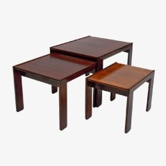 Rosewood Nesting Tables by Afra & Tobia Scarpa for Cassina, 1960s, Set of 3