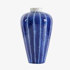 Scandinavian Striped Ceramic Vase by Ingrid Atterberg for Upsala Ekeby