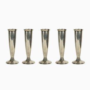Petits Vases Plaqué Argent par Gio Ponti pour Krupp, 1930s, Set de 5