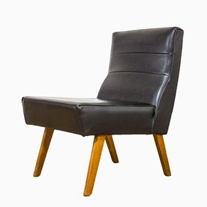 Mid-Century Danish Teak & Black Vinyl Lounge Chair