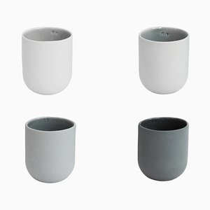 Sum Mugs in Grey Smooth Finish by De Intuïtiefabriek, Set of 4