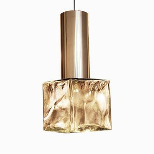 Vintage Glass and Steel Pendant Lamp by J.T. Kalmar