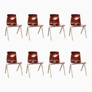 Niederländische vintage S22 Schulstühle im industriellen Stil von Galvanitas, 8er Set