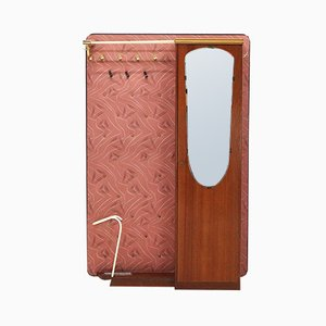 Walnut Veneer Coat Rack with Shoe Cupboard, 1950s