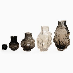Set of Five Carved-Mold Glass Vases by Noam Dover & Michal Cederbaum