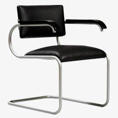 Sedia da scrivania modernista foderata in pelle nera