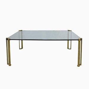 Table Basse Vintage en Verre & Laiton par Peter Ghyczy