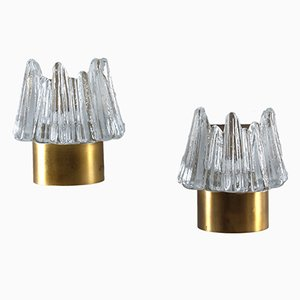 Scandinavian Glass & Brass Wall Sconces, Set of 2