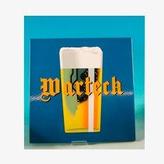 Panneau Publicitaire Warteck Bier Vintage en Email de Emaillerie Corgemont
