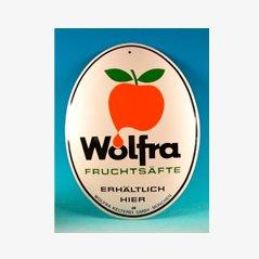 Vintage Wolfra Fruchtsäfte Enamel Sign