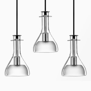 Wolkje S Chrome Ceiling Lamps by Fällander Glas for Akaru, Set of 3