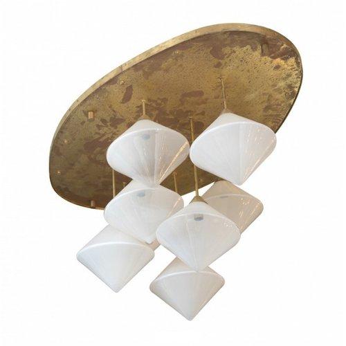 Italienische deckenlampe mit 8 leuchten aus vergoldetem for Italienische esstische