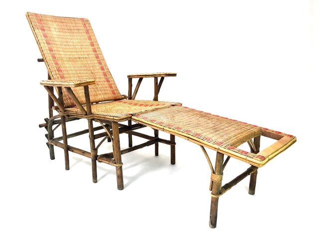 french wicker and bamboo chaise longue with footrest 1920s for sale at pamono. Black Bedroom Furniture Sets. Home Design Ideas