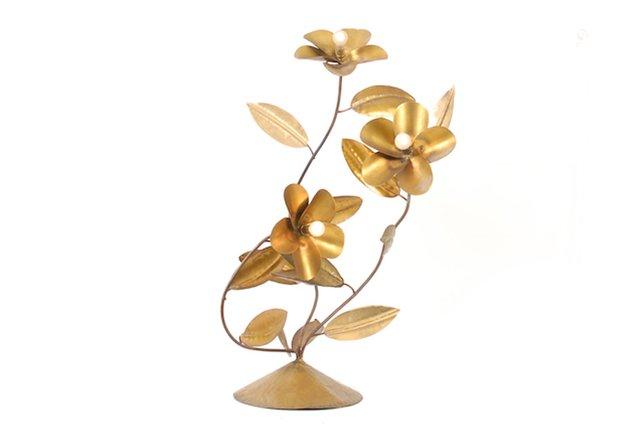 Vintage Blumen Lampe aus Kupfer bei Pamono kaufen