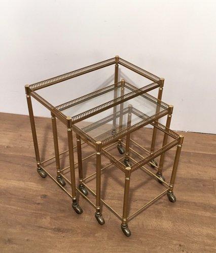 vergoldete satztische auf rollen 1950er 3er set bei. Black Bedroom Furniture Sets. Home Design Ideas