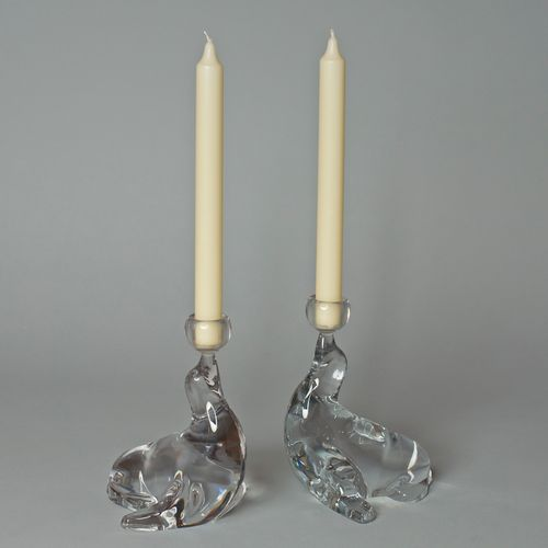 Hollywood Regency Style Glass Seal Candle Holders, Set of