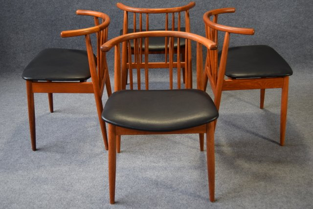 Teak Dining Chairs From H P Hansen Randers Set Of 4 For