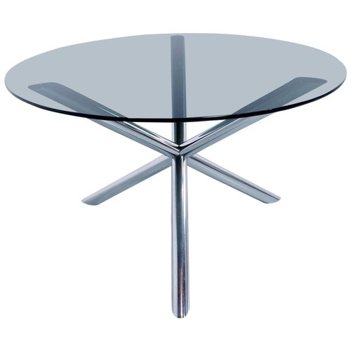 dining table in chrome and smoked glass by roche bobois 1970s for sale at pamono. Black Bedroom Furniture Sets. Home Design Ideas