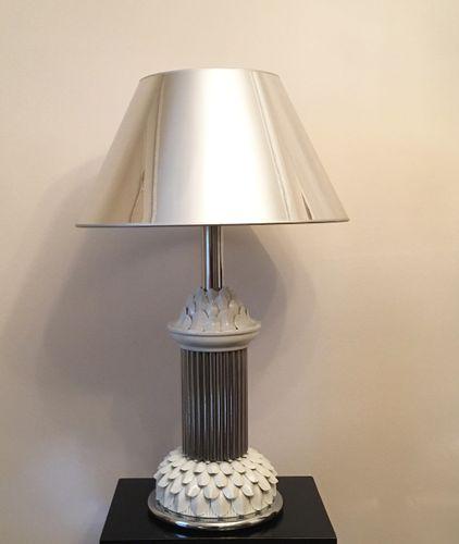 Italienische mid century tischlampe aus chrom keramik for Italienische esstische