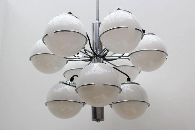 Vintage Italian Chrome And Opaline Glass Chandelier By