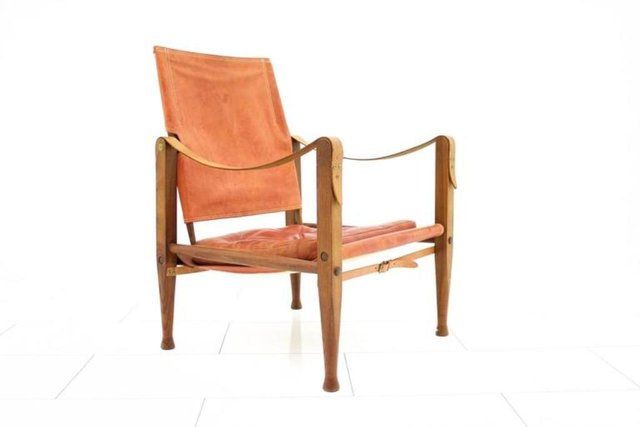 Light Red Leather Safari Chair By Kaare Klint For Rud Rasmussen For Sale At  Pamono