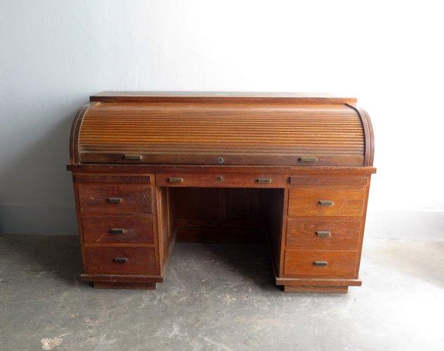 vintage schrebitsch aus holz mit rollt ren messinggriffen bei pamono kaufen. Black Bedroom Furniture Sets. Home Design Ideas