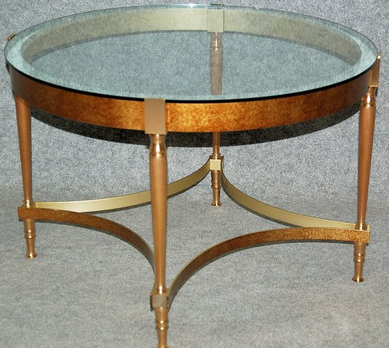Vintage Bronze Coffee Table With Glass Top For Sale At Pamono