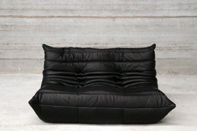 schwarzes vintage togo zwei sitzer ledersofa von michel ducaroy f r ligne roset bei pamono kaufen. Black Bedroom Furniture Sets. Home Design Ideas