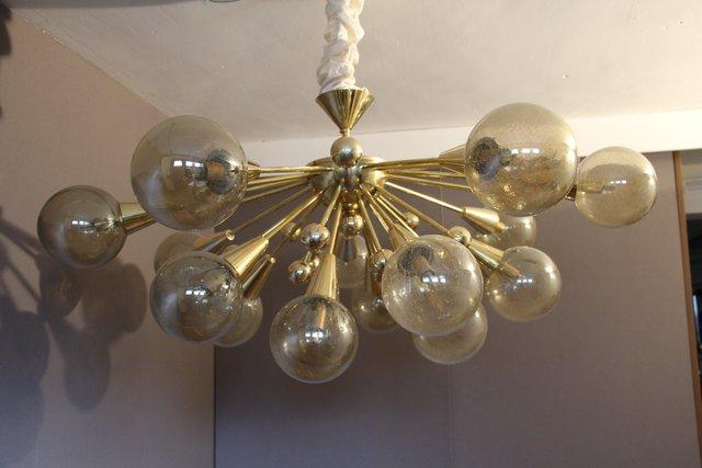 vintage gold halb sputnik deckenlampe mit murano glas bei pamono kaufen. Black Bedroom Furniture Sets. Home Design Ideas