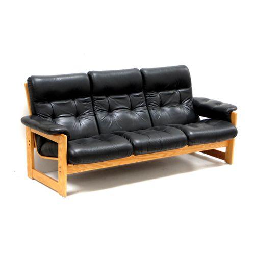 Etonnant Vintage Black Leather Sofa For Sale At Pamono