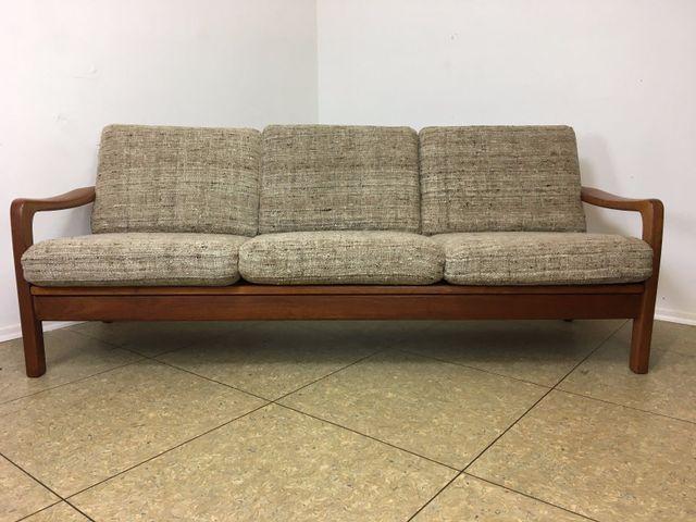 teak 3 sitzer sofa schlafcouch von juul kristensen 1970er bei pamono kaufen. Black Bedroom Furniture Sets. Home Design Ideas