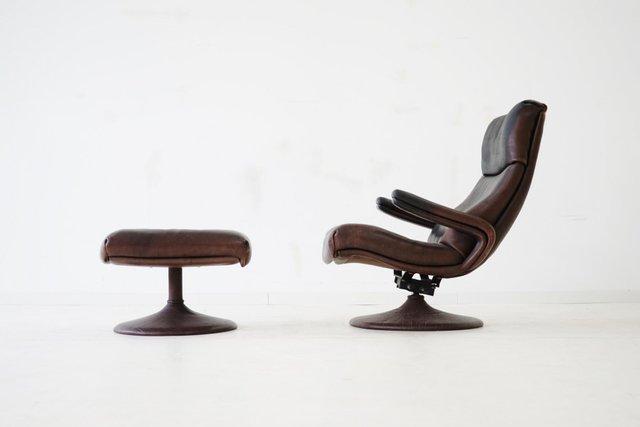 vintage ledersessel mit hocker von de sede bei pamono kaufen. Black Bedroom Furniture Sets. Home Design Ideas